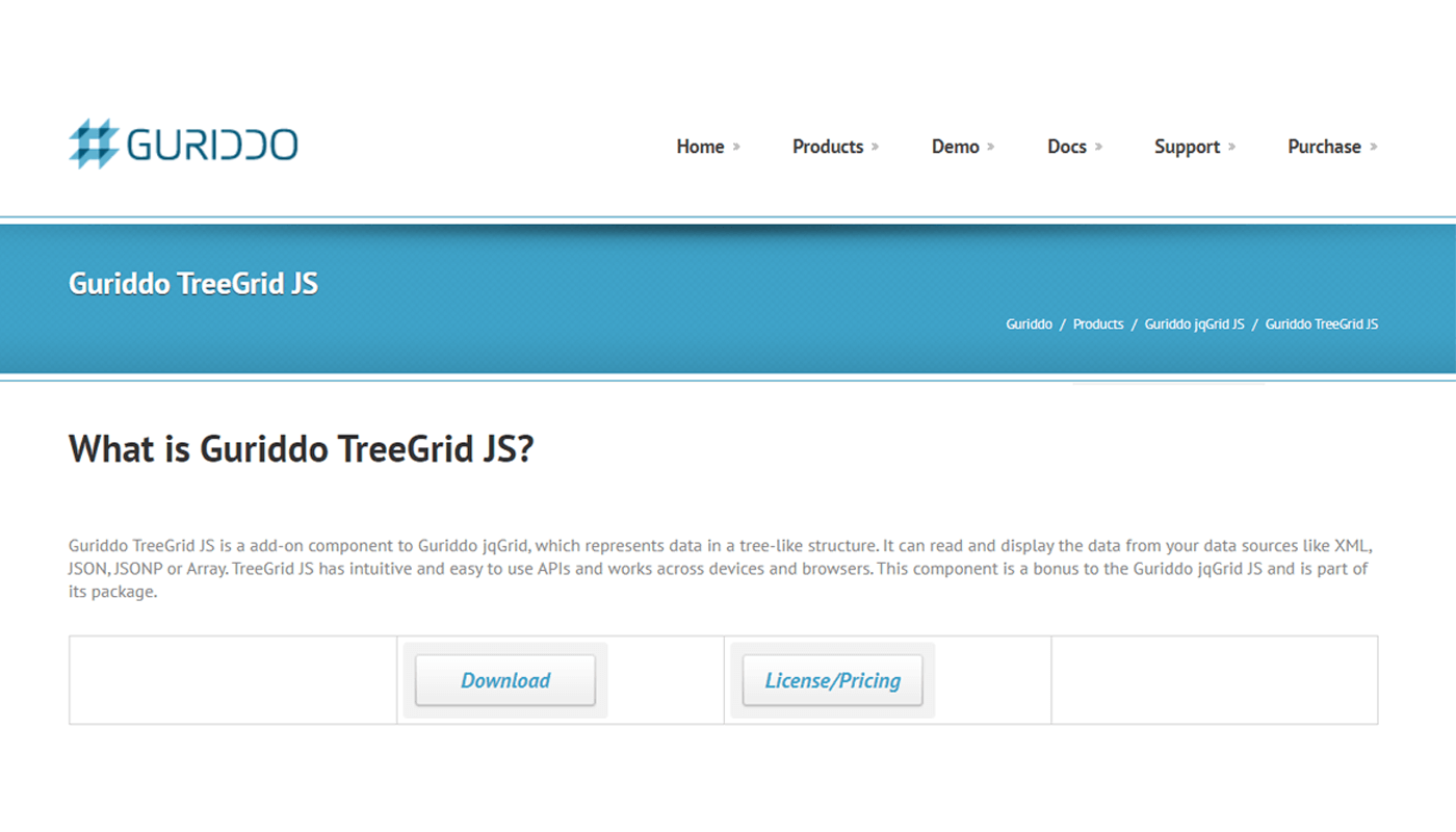 JavaScript TreeGrid Libraries- Guriddo