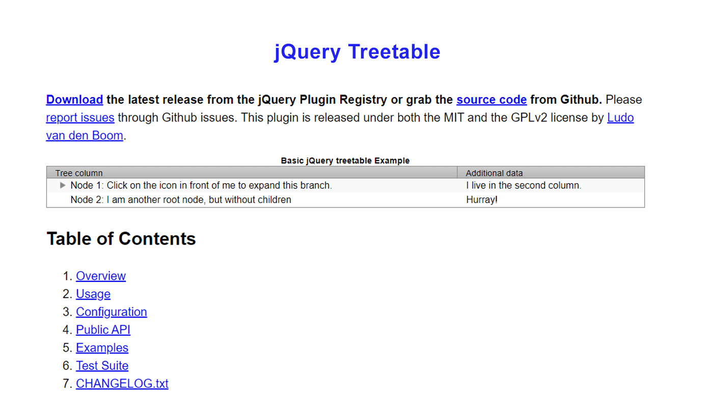 JavaScript TreeGrid Libraries- jquery-treetable