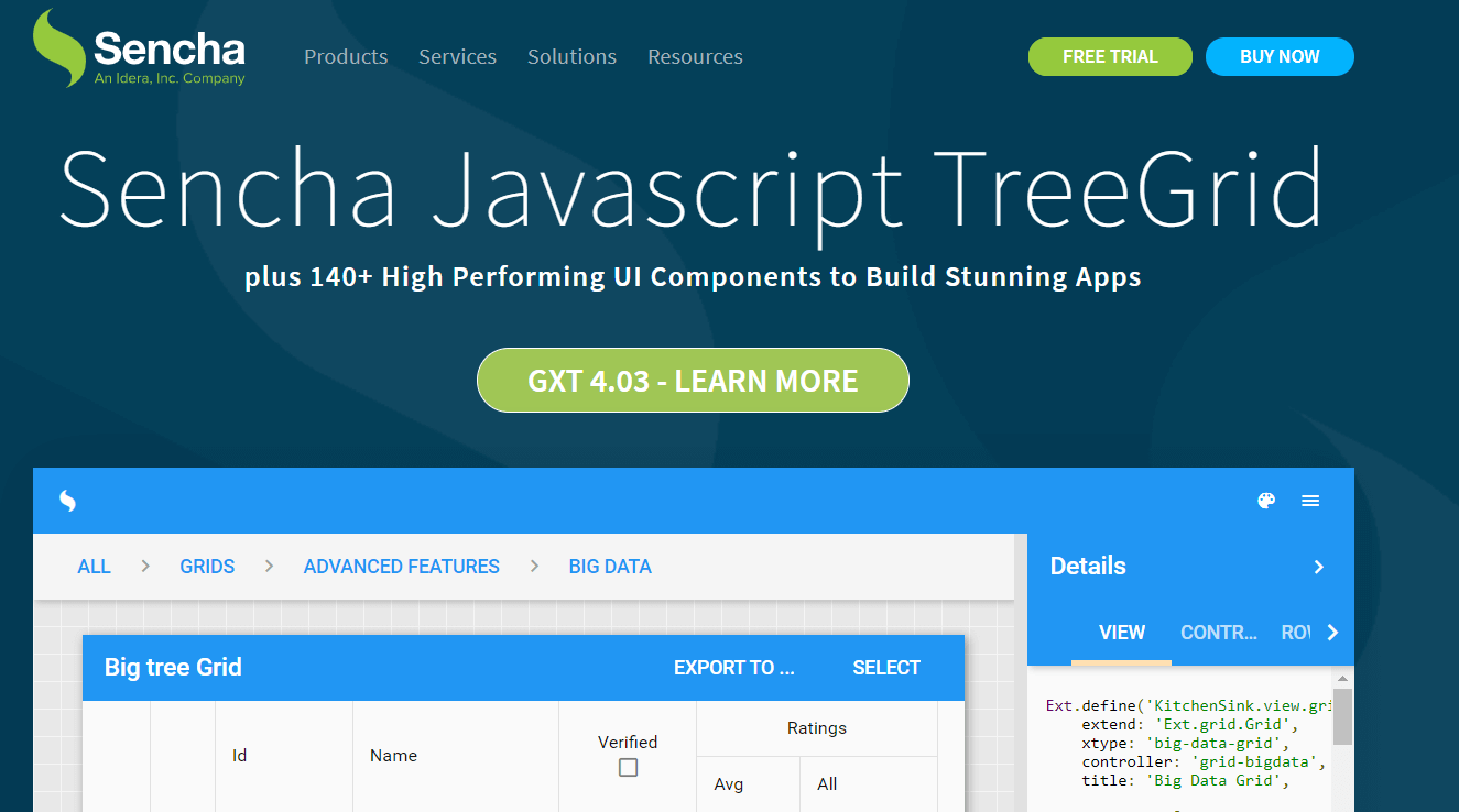 JavaScript TreeGrid Libraries- Sencha